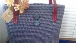 Вязаная женская сумка шопер  Розовая дымка