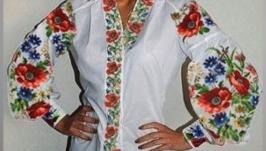 Блуза вышитая женская бохо - Маки