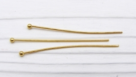 Пины ПСт-1 с шариком 40 мм золото нержавеющая медицинская сталь 10 шт