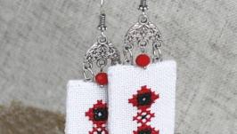 Этнические серьги Украшение под вышиванку Украинские украшения