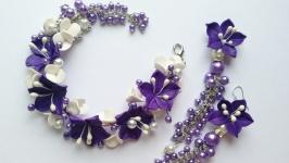 Фиолетовый браслет и серьги
