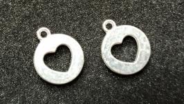 Подвеска сердце серебро 15 мм