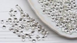 Шапочки 4 мм обниматели для бусин 50 шт серебро