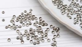 Шапочки 3 мм обниматели для бусин 50 шт серебро