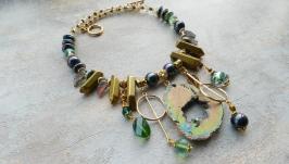 Колье, ожерелье с натуральным камнем , чокер с друзой .