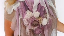 Нуно-войлочный палантин Розовый букет