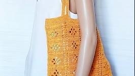 Вязаная эко-сумка из натурального конопляного джута