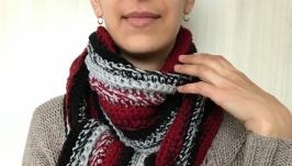 Вязаный шарф Длинный вязаный крючком шарф крупной вязки Разм 2м35см х 20 см