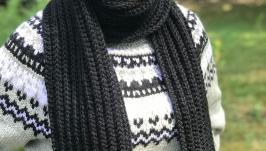 Шарф длинный вязаный спицами Черный шарф Размер 2м х 20см