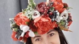 Вінок  на голову український обьємний. Венок с цветами