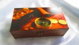 Шкатулка для денег,часов,купюрница для мужчин ′Сокровища пиратов′