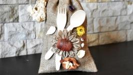Декор на кухню. Декоративный мешочек из мешковины, сухоцвета и сухофруктов