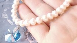 Браслет з натуральних перлів  і Swarovski  формі серця подарунок дівчині