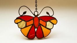 Витражная подвеска на окно «Бабочка», техника Тиффани.  Бабочка  маленький