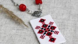 Кулон с кораллом красно черный Украшение под вышиванку Украинские украшения