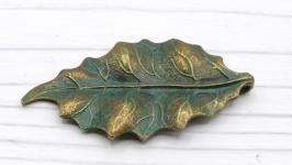Лист 47х25 подвеска бронза патина