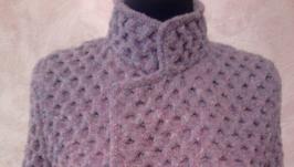вязаное женское пальто на запах под пояс