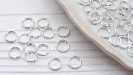 Колечки 6 мм соединительные двойная скрутка  50 шт серебро