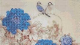 Схема картины - Пионы синие
