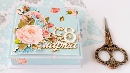 Коробка подарункова для грошей або маленького презенту до 8 березня