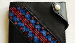 Жіночий гаманець, гаманець з вишивкою, шкіряний гаманець