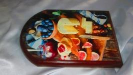 Сырная доска ′Аперитив′ из массива сосны.Сервировочная,подарок маме,бабушке