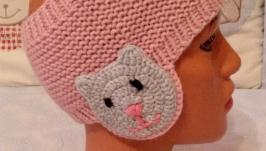 Повязка детская с ушками ′Кошечка′ розовая.
