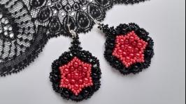 Серьги, серёжки,сережки, кульчики чёрно-красные, круглые ручной работы