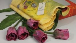 Палантин валяный с тюльпанами ′Солнечный день′