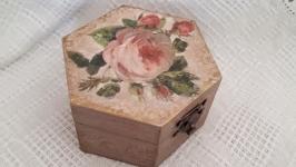 Шкатулка для колец Винтажная роза
