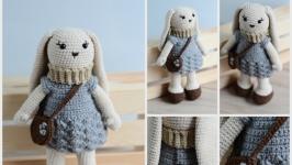 Симпатичний кролик-зайчик, В′язана іграшка, Декор дитячої кімнати,Подарунок