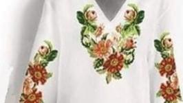 Платье вышитое женское - Шиповник