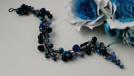 Украшение в волосы синяя хрустальная веточка
