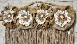 Декор для дома: Настенный декор типа макраме из джута и мешковины. Рустик