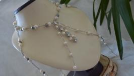 Эксклюзивное колье, спадающее на плечи из белого жемчуга ′Мгновения′