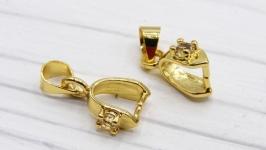 Бейл LUX Милано зажимной золото держатель для кулона фианиты цирконы