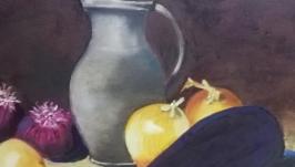 Картина ′Натюрморт  кувшин и лук′, холст, масло, мастехин, размер 50х60 см