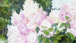 Две картины маслом диптих ′Гортензия в саду′ белый, розовый
