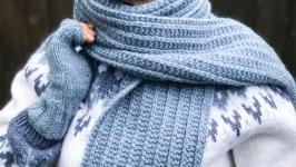 Шарф. Вязаный шарф. Длинный шарф женский. 185 х 19см. «Светлый джинс»