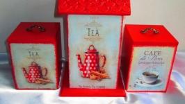 Набор для кухни ′Приятное чаепитие′; чайный домик и короба для сыпучих