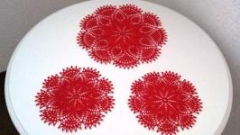 Комплект серветок червоного кольору (3 серветки)