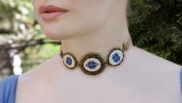 Синее ожерелье чокер на бархотке Украшение на выпускной колье под шею