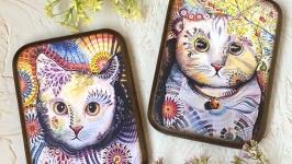 Панно ′Радужные коты′ - 2шт.