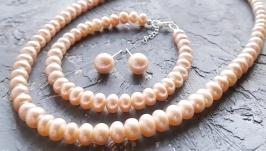 Комплект  з натуральних перлів кольє браслет та сережки