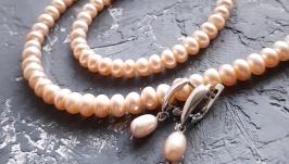 Срібний комплект  з натуральних перлів кольє та сережки