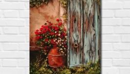 Интерьерная картина маслом ′У старой двери′ 40х30 см, холст на подрамнике
