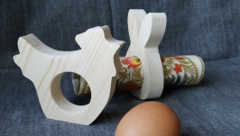 Заготовка пасхальная курочка под яйцо или салфетку, дерево сосна