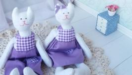 Котята маленькие, пара текстильных игрушек. Кот из ткани.