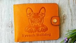 Желтый маленький кожаный кошелек портмоне бумажник с тиснением бульдог