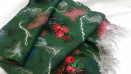Валяный палантин Цветочная поляна